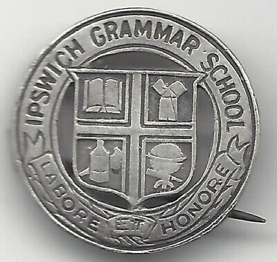 Ipswich Grammar S SILVER School Badge Labore Honore Voided Owner's Name on Back