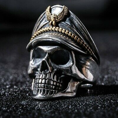 Cool Men Stainless Steel Gothic Punk Skull Head Boy Biker Finger Ring Jewelry S9