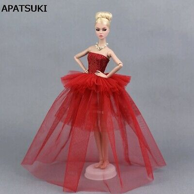 Red Party Dress For Barbie Doll Clothes Multi-layer Evening Gown Wedding Dresses
