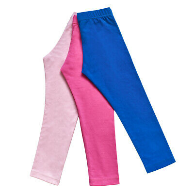 Sunny Fashion Girls Pants 3-Pack Cotton Leggings Stretchy Toddler Kids Size 2-6