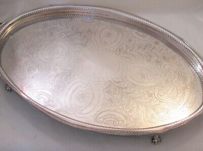 Very Large Vintage Silver Plated Oval Tray with Galleried Edge - Lion Feet