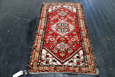 4X2 1940's ANTIQUE HAND KNOTTED 70+YEARS WOOL DISTRESSED HAMEDANN RUG RUNNER