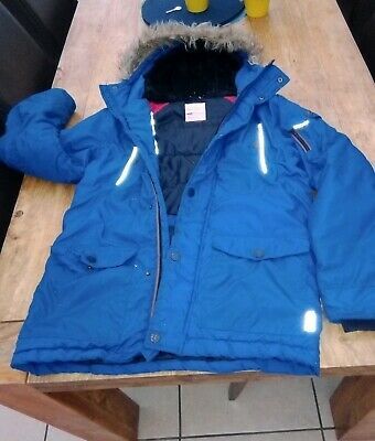 Next Boys FUR HOODED BLUE Parka Coat Age 14 VERY WARM PADDED, SUPER CONDITION,