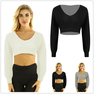 Women V-Neck Long Sleeve Crop Top Pullover Knitted Sweater Casual Blouse Shirt