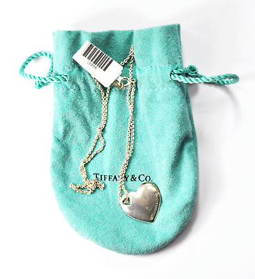 """Sterling Silver Tiffany & Co 20mm Heart Pendant 1.5mm Chain Necklace 16"""""""