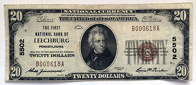 The First National Bank of LEECHBURG (Pennsylvania) $20 US Currency Note;J091