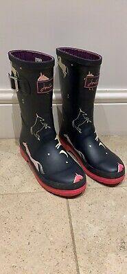 Joules UK Size 2 Girls Unicorn Navy Pink Welly Boots