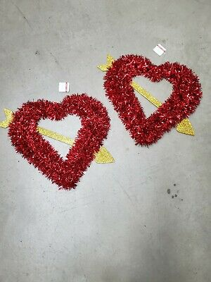 """2 Ashland Large 15"""" Red Tinsel Heart Shaped Wreath With Gold Arrow Valentines"""