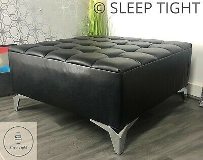 Large Ottoman Footstool Centerpiece Faux Leather Coffee Table / Footstool Bench
