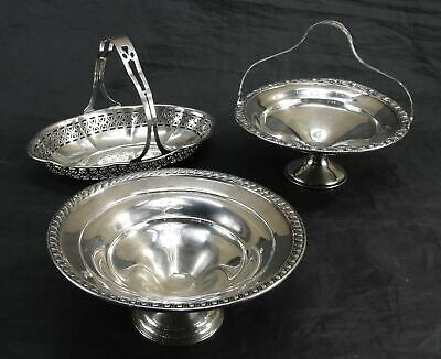 Vtg Lot Of 3 Sterling Silver Whiting Pierce Candy Dish Bowl Compote W/Handle