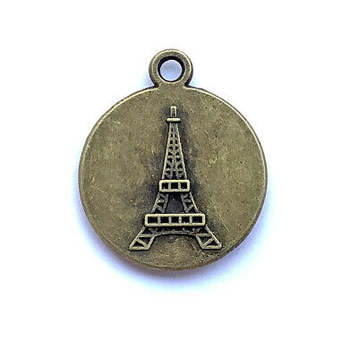 Antique Brass Plated 26x21mm Eiffel Tower Round Cabochon Tray Charms Q10 per Pkg