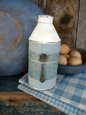 Small Early Antique Pantry Tin White Milk Paint 1890s Blue Calico Free Shipping