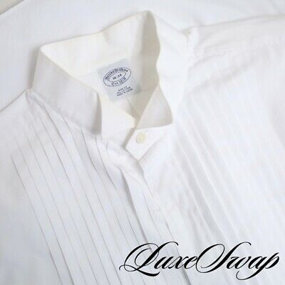 LNWOT Brooks Brothers Slim Fit White Buttonless French Cuff Tuxedo Shirt 16 #1