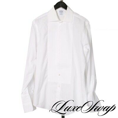 LNWOT Brooks Brothers Slim Fit White Buttonless French Cuff Tuxedo Shirt 16 #2