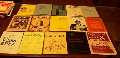 15 Vintage Magic Trick Booklets Rope Handkerchief Silk Ball+ Tricks Books Lot #2