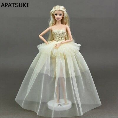 Beige Doll Clothes For Barbie Princess Wedding Dress Party Gown For Barbie Doll