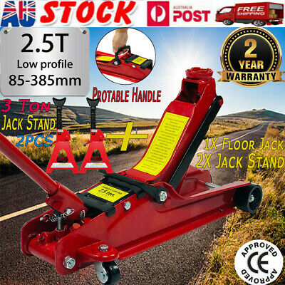 2.5 Ton Hydraulic Floor Jack Trolley Low Profile Car Quick Lifting 2X Jack Stand