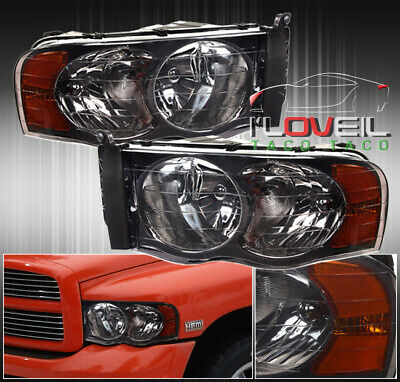 1Pc Smoked Diamond Headlights Lamps For 02-05 Dodge Ram 1500 2500 Pick Up Truck