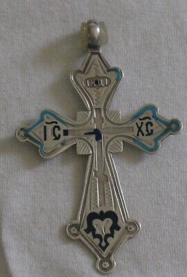 Russian Greek ORTHODOX CROSS STERLING SILVER 84 Antique Tsar ist Old Big Vintage