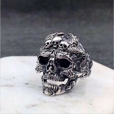 Gothic Men's Stainless Steel Silver Cool Punk Skull Finger Rings Jewelry Size 8