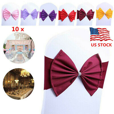10PCs Elegant Butterfly Knots Elastic Bows Dining Chair Cover Wedding Decoration