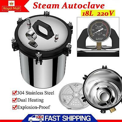 18L Stainless Steel High Pressure Steam Autoclave Sterilizer Equipment Heating