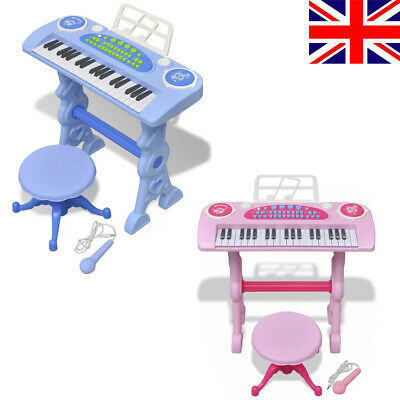 37Key Kids Electronic Keyboard Mini Grand Piano Stool Microphone Musical Toy uk