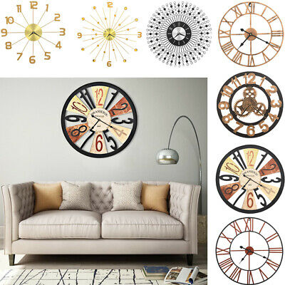 Large Round Outdoor Garden Wall Clock Big Arabic Numerals Giant Open Face Metal