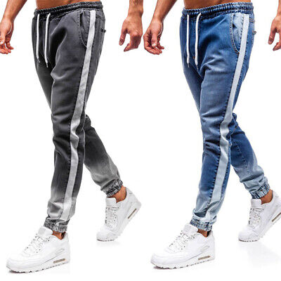 Mens Elasticated Waist Jeans Joggers Stretch Slim Casual Denim Trousers Pants