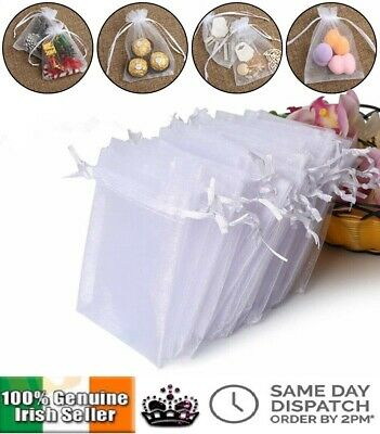 White Organza Favour Bags Wedding Party Cake Sweets Drawstring Gift Bag 7x9 9x12