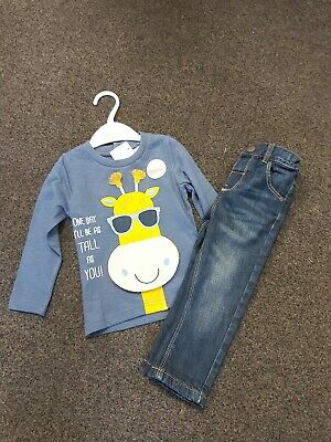 Next Boys Blue Skinny Jeans & M&Co Short Sleeved Giraffe Pattern Top 12-18 Mths