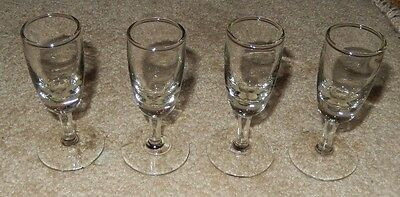 Vtg Four (4) Footed 1 Ounce Shot Cordial Glasses