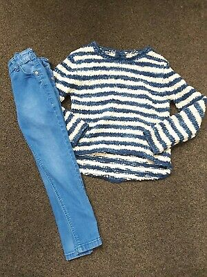 Next Gorgeous Girls Blue & White Striped Jumper & Tu Blue Skinny Jeans Age 6 Vgc
