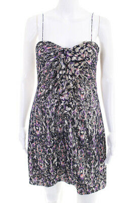 Elie Tahari Womens Strapless Sweetheart Neckline Mini Dress Purple Gold Size S