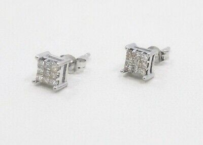 14k Solid White Gold Petite Invisible Set Princess Diamond Stud Earrings