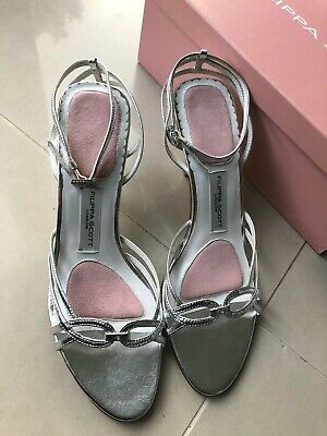BNWT FILIPPA SCOTT Silver Bridal Wedding Shoes Size 6 (40) Leather NEW Slingback
