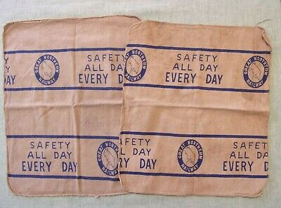 2 VINTAGE Great Northern Railway CLOTHS POLISHING CLEANING RAGS? SAFETY ALL DAY