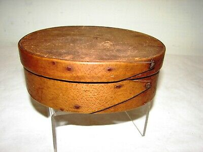 antique 19th c small oval wood antique primitive pantry box aafa