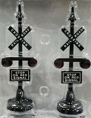 Lemax RAILWAY STOP LIGHT train railroad crossing Christmas Village Accessory 2pc