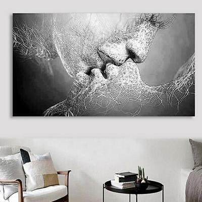 Black & White Love Kiss Abstract Art on Canvas Painting Wall Art Picture Print C