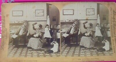 OLD PHOTO STEREOVIEW Child Getting A Spanking 1800's