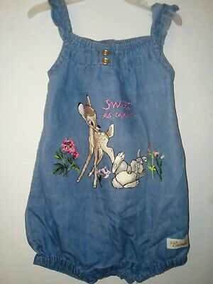 Bnwt Disney Baby Girls Bambi denim Romper Age 6-9 Months Cartoon Character