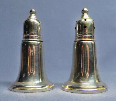 "Antique Sterling Silver J.E. Caldwell Weighted Salt & Pepper Shakers 3 1/4"" EXC!"