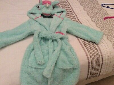 Peppermint Green Sparkly Silver Unicorn Dressing Gown - Age 3-4yrs**