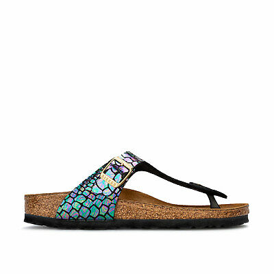 Junior Girls Birkenstock Gizeh BF Sandals in Shiny Snake Black Multicolour