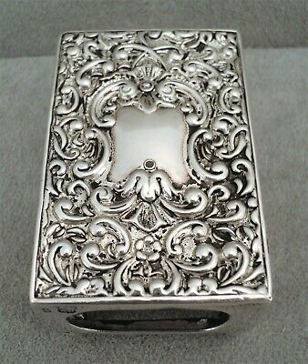 Antique STERLING Silver MATCH BOX Cover Ornate REPOUSSE Hallmarked - Estate Find