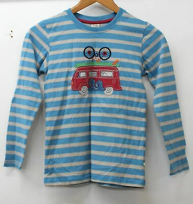 FRUGI Boys Blue Beige Cotton Long Sleeve Striped Top 9-10 Yrs. 134cm-140cm BNWT