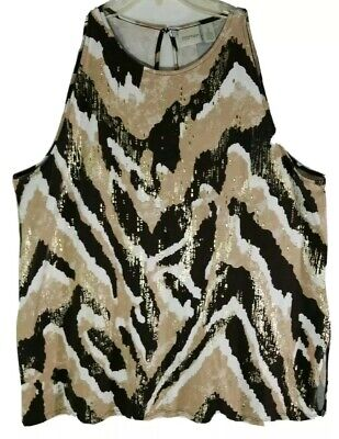 ZENERGY by Chicos Tank  Top Keyhole|Stripped Animal Print Sleeveless Size XL