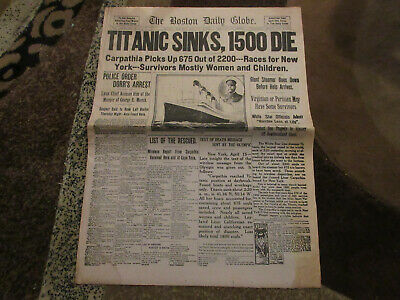 The Boston Globe Newspaper Titanic Sinks April 16, 1912 Double Edition 12 pages