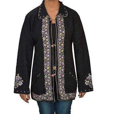Tcw  Vintage Fabric Woolen Hand Embroidered Short Top Jacket Black Floral